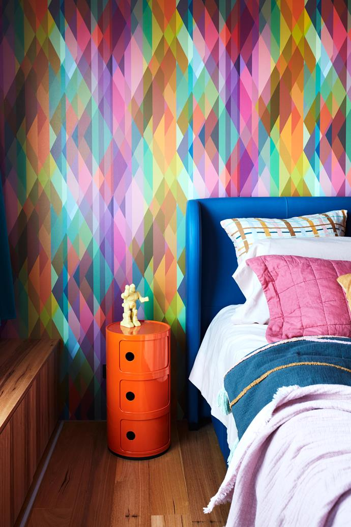 """**MAIN BEDROOM** The room's striking [Cole & Son](https://cole-and-son.com/