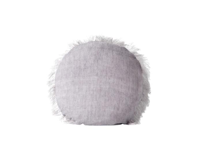"[Aura Home linen fringe round cushion](https://www.theiconic.com.au/linen-fringe-45cm-round-1329547.html|target=""_blank""|rel=""nofollow""), $97.92 *(was $139.90)*"