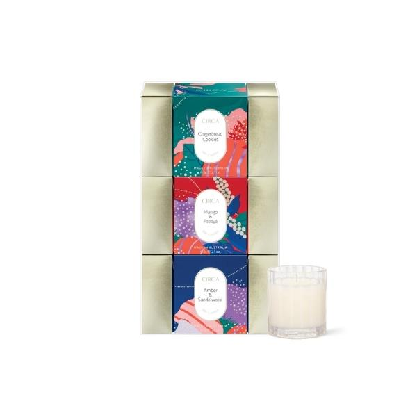 """Mini Candle Bon Bon Trio, $49.95, [Circa Home](https://circa.com.au/collections/christmas-collection-2021-celebrate-moments-that-matter/products/2021-limited-edition-christmas-mini-bon-bon-trio target=""""_blank"""" rel=""""nofollow"""")"""