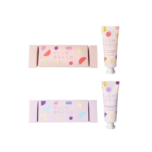 """Pink Hibiscus Fizz and Passionfruit Pavlova hand cream Bon Bons, $12.95 ea, [Palm Beach Collection](https://palmbeachcollection.com.au/collections/christmas target=""""_blank"""" rel=""""nofollow"""")"""