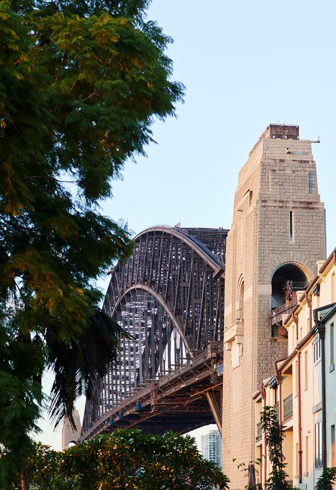1879 home is in a row of heritage-listed terraces and enjoys intimate views of the Sydney Harbour Bridge.
