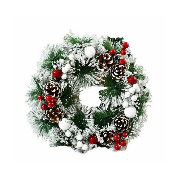 """Friter Christmas wreath, $46.99, [Catch.com.au](https://www.catch.com.au/product/friter-christmas-wreath-window-xmas-tree-door-hanging-ornament-garland-party-home-decor-d-9505516/?sid=christmas%20wreath&sp=17&st=32&srtrev=sj-zvd9s33v48335nrynjpbdi.click&emit_product_interaction_events&pid=9505516&oid=43012107