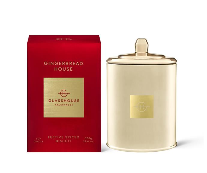 """**[Gingerbread House triple scented soy candle, $54.95 (380g), Glasshouse Fragrances](https://www.glasshousefragrances.com/products/2021-limited-edition-380g-candle-gingerbread-house target=""""_blank"""" rel=""""nofollow"""")** <br><br> This celebratory candle combines orange, almond, caramel, ginger and vanilla to create the scent of freshly baked gingerbread biscuits. Glasshouse Fragrances' Christmas collection also includes scented candles in: Christmas Morning, Merry & Bright, [White Christmas](https://www.glasshousefragrances.com/collections/limited-edition/products/2021-limited-edition-380g-candle-white-christmas?variant=39471359000660 target=""""_blank"""" rel=""""nofollow"""") and [Night Before Christmas](https://www.glasshousefragrances.com/products/2021-limited-edition-380g-candle-night-before-christmas?variant=39471283994708 target=""""_blank"""" rel=""""nofollow""""). Free standard shipping for orders over $75. See website for details."""