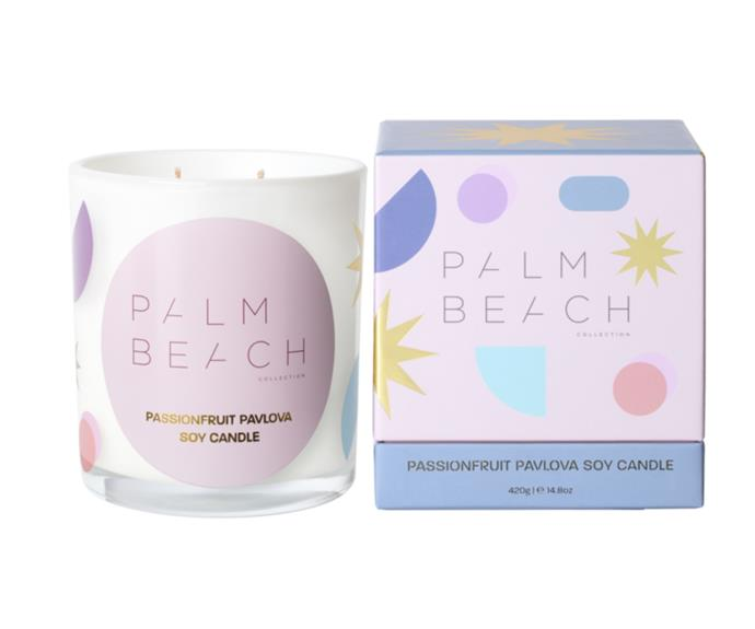 """**[Passionfruit Pavlova soy candle, $44.95 (420g), Palm Beach Collection](https://palmbeachcollection.com.au/collections/christmas/products/passionfruit-pavlova-fizz-420g-standard-candle-1 target=""""_blank"""" rel=""""nofollow"""")**  <br></br> Christmas means summer in Australia so fruity, dessert-inspired scents are perfect for celebrating the festive season. This limited edition candle by Palm Beach Co. smells just like a fluffy, passionfruit pavlova."""