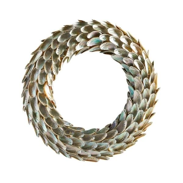 """Handcrafted abalone shell wreath, $154, [Pottery Barn](https://www.potterybarn.com.au/abalone-shell-wreath