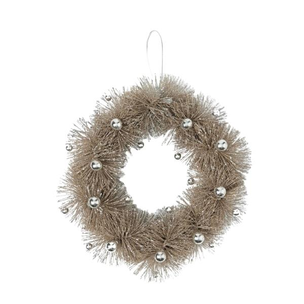 """Twisted wreath with baubles, $29.99, [Bed Bath n' Table](https://www.bedbathntable.com.au/gift/xmas/twisted-wreath-with-baubles-soft-gold-19657501