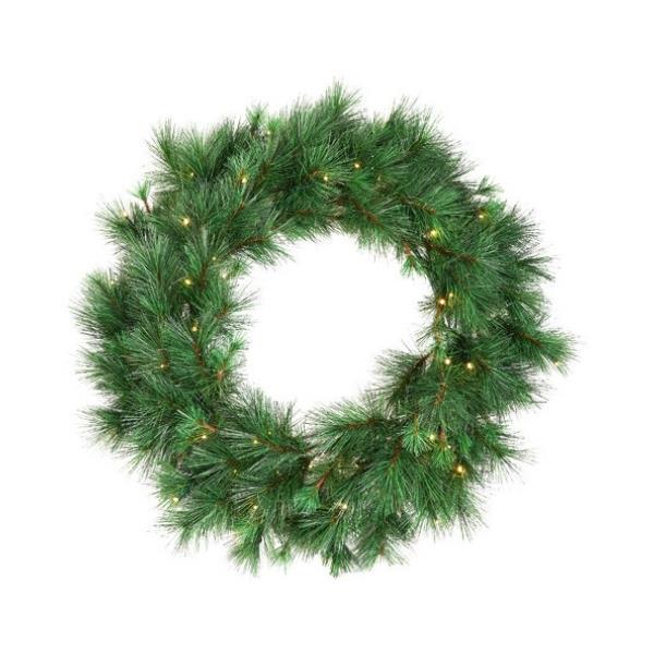 "Classic pine pre-lit Christmas wreath, $69.95, [Temple & Webster](https://www.templeandwebster.com.au/60cm-Classic-Pine-Pre-Lit-Christmas-Wreath-TMPL3384.html|target=""_blank""|rel=""nofollow"")"