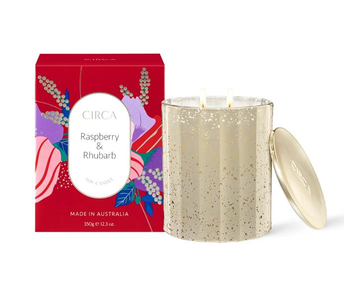 """**[Raspberry & Rhubarb soy candle, $44.95 (3530g), Circa](https://circa.com.au/collections/scented-soy-candles/products/2021-limited-edition-christmas-raspberry-rhubarb-soy-candle-350g target=""""_blank"""" rel=""""nofollow"""")**  <br></br> Start a new Christmas tradition by imbuing your home with the fragrance of cheerful rhubarb and raspberry. This candle features a creamy base layered with summer berries and top notes of citrus."""