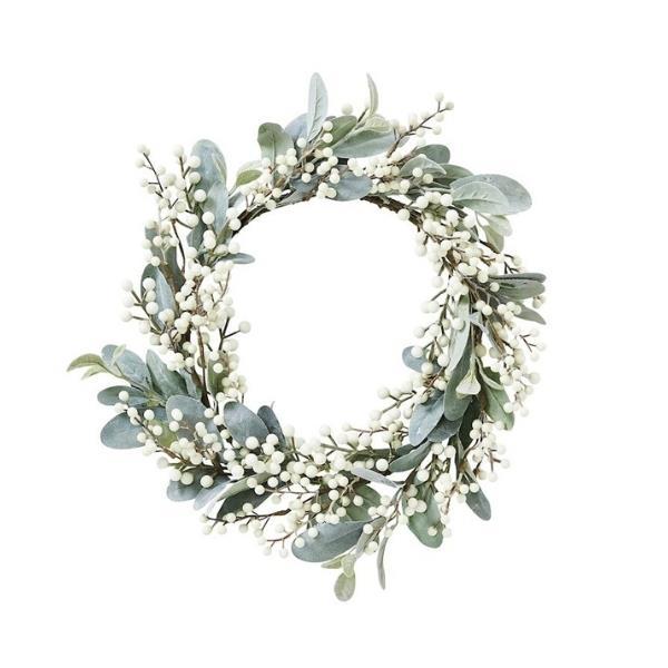 "Sage & white berry wreath, $59.99, [Adairs](https://www.adairs.com.au/homewares/christmas/adairs/sage--white-berry-wreath/|target=""_blank""|rel=""nofollow"")"