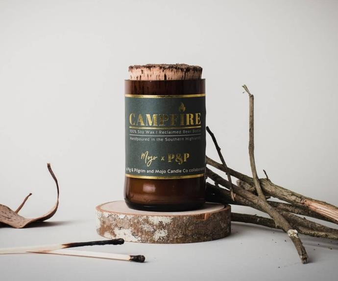 """**[Campfire by A Pig & Pilgrim and Mojo, $24.90, Mojo Candle Co.](https://www.mojocandleco.com.au/products/campfire-wood-wick-reclaimed-beer-bottle-candle target=""""_blank"""" rel=""""nofollow"""")** <br></br> Do you look forward to your family's Christmas camping trip? Start the party early by lighting this candle that smells exactly like a cosy campfire. Features top notes of fir needle, pine cone and base notes of cedarwood and cinnamon bark. This candle is also sustainably made, packaged in a jar made from a recycled beer bottle and hand-poured in the NSW Southern Highlands. 100% Australian made and owned."""