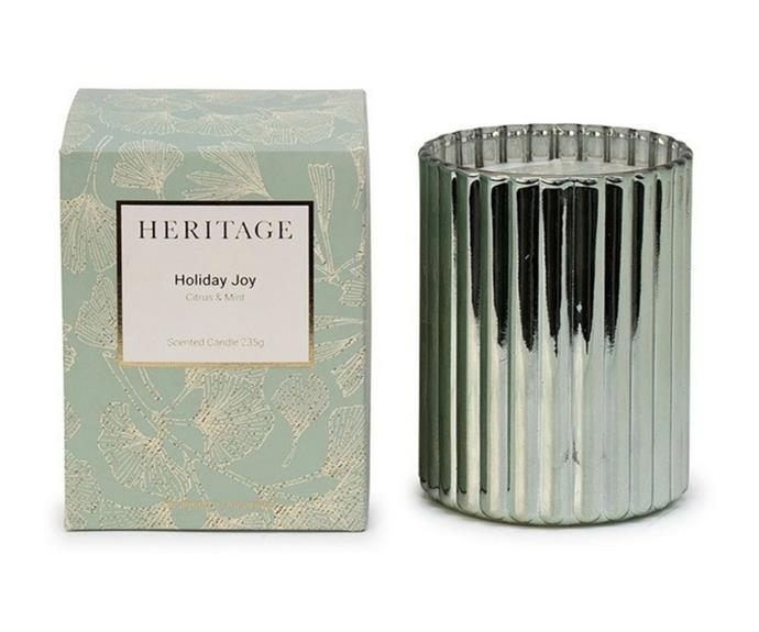 """**[Holiday Joy candle by Heritage, $29.95 (235g), Myer](https://www.myer.com.au/p/heritage-holiday-joy-candle-235g target=""""_blank"""" rel=""""nofollow"""")**  <br></br> If you prefer a light, refreshing Christmas scent, Heritage's Holiday Joy candle delivers. Offering a mix of citrus and mint, it is the perfect fragrance for a hot, Australian summer. Plus, if you buy two or more items from Myer's home decor range, you will receive 30% off the original purchase price. See website for details."""