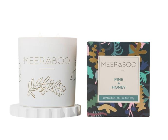 """**[Pine + Honey boxed soy candle, $46.95 (300g), Meeraboo](https://meeraboo.com.au/products/christmas-pre-order-pine-honey-boxed-soy-candle target=""""_blank"""" rel=""""nofollow"""")** <br></br> Give your home a truly unique scent-scape this Christmas by investing in a soy candle from small, family owned candle making business, Meeraboo. The sweet yet fresh Pine + Honey scent was designed especially for those who like to put the tree up early and take it down well into the new year."""