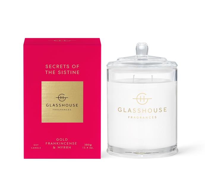 """**[Secrets of the Sistine triple scented soy candle, $49.95 (380g), Glasshouse Fragrances](https://www.glasshousefragrances.com/products/380g-candle-secrets-of-the-sistine?variant=32057722175572 target=""""_blank"""" rel=""""nofollow"""")** <br></br>  For some, Christmas is a deeply spiritual time of year. Fill your home with the traditional fragrance of frankincense coupled with notes of patchouli and myrrh with Glasshouse's re-released Secrets of the Sistine scent."""