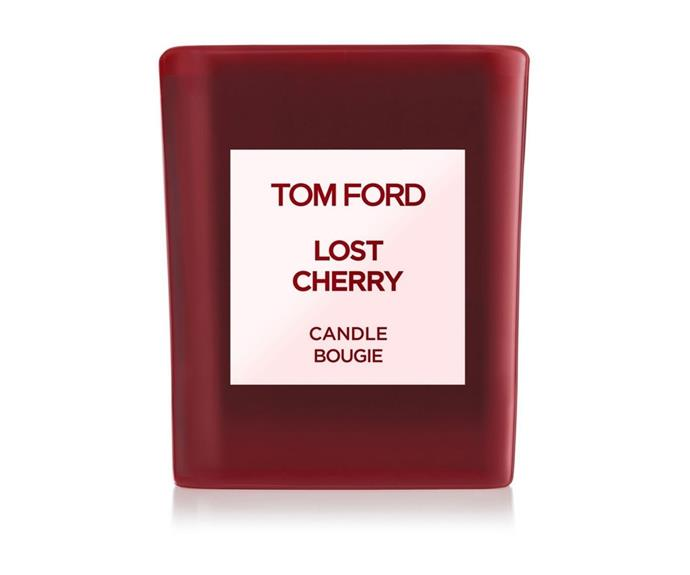 """**[Lost Cherry Candle by Tom Ford, $160, Myer](https://www.myer.com.au/p/tom-ford-lost-cherry-candle-57cm target=""""_blank"""" rel=""""nofollow"""")** <br></br>  If there is one fruit that is synonymous with Christmas in Australia, it's the cherry. Celebrate the season's bounty by lighting this decadent candle by Tom Ford. Black cherries take centre stage here, surrounded by a supporting cast of Turkish rose, jasmine and roasted tonka."""