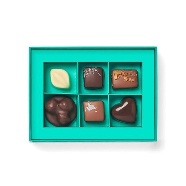 "Chocolatier's selection praline gift box, $19.90, [Koko Black](https://www.kokoblack.com/products/6-piece-chocolatiers-selection-gift-box|target=""_blank""|rel=""nofollow"")"