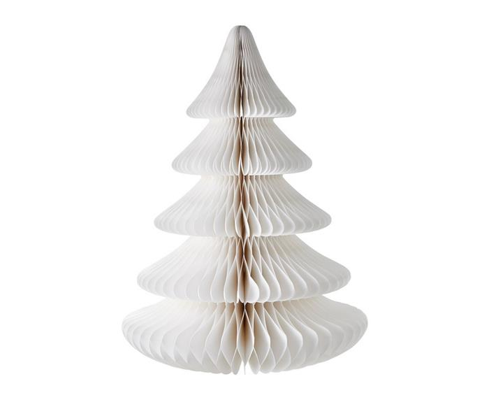 """Don't forget to add some festive cheer with simple yet elegant Christmas decorations. This **[55cm medium paper tree in white, $99.99](https://www.harrisscarfe.com.au/seasonal/christmas/ch-decorations/chyka-home-chyka-55cm-medium-paper-tree-white/BP_623388