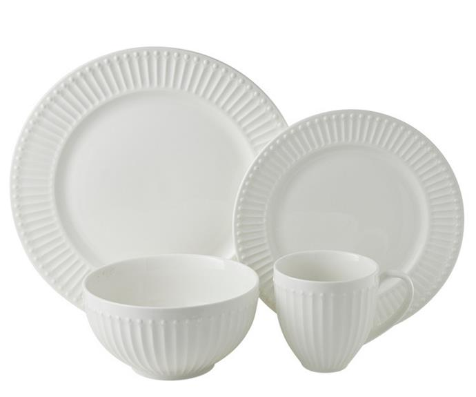 """A crisp white dinner set like the **[Sunday dinner set, $149.99](https://www.harrisscarfe.com.au/kitchen-dining/dinnerware/di-dinnersets/chyka-home-chyka-sunday-16pc-dinner-set/BP_623158