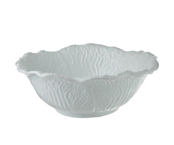 """Serve up a refreshing side salad in the **[Garden patch serving bowl in white, $49.99](https://www.harrisscarfe.com.au/kitchen-dining/dinnerware/di-loose-dinnerware/chyka-home-chyka-vegtable-serve-bowl-wht-30cm/BP_623146