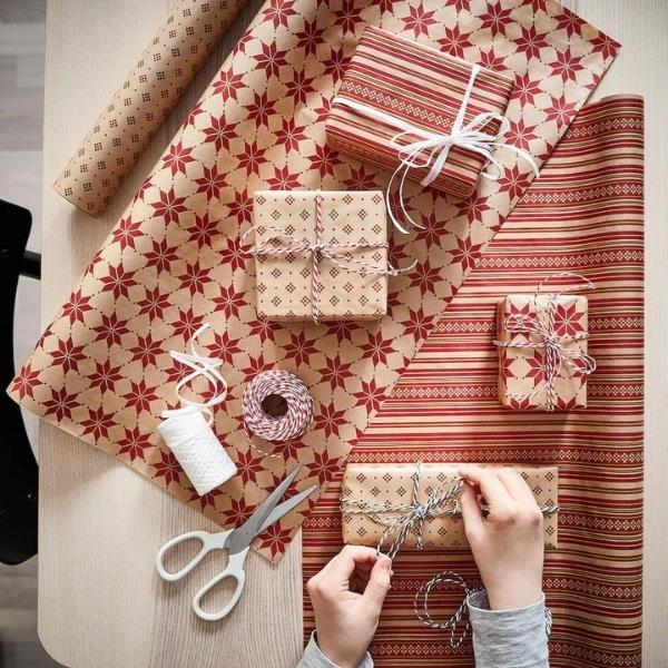 "VINTER 2021 Gift wrap roll, star pattern beige/red, $6.50, [IKEA](https://www.ikea.com/au/en/p/vinter-2021-gift-wrap-roll-star-pattern-beige-red-00499344// target=""_blank"" rel=""nofollow"")"