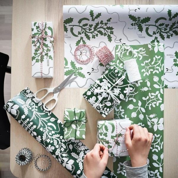 """VINTER 2021 Gift wrap roll, leaf pattern white/green, $6.50, [IKEA](https://www.ikea.com/au/en/p/vinter-2021-gift-wrap-roll-leaf-pattern-white-green-10499391/ target=""""_blank"""" rel=""""nofollow"""")"""