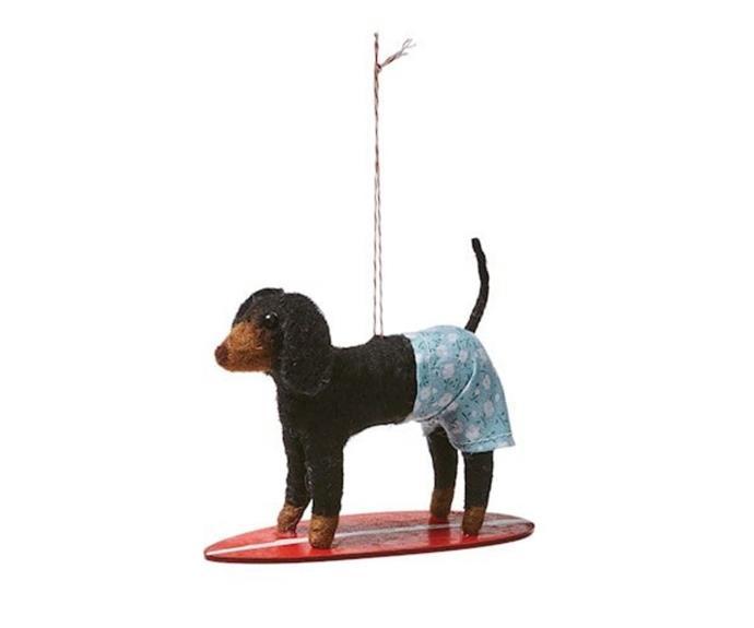 "Felted Surfing Black & Red Dachshund, $12.99, [Adairs](https://www.adairs.com.au/homewares/christmas/adairs/felted-surfing-black--red-dachshund/|target=""_blank""|rel=""nofollow"")."