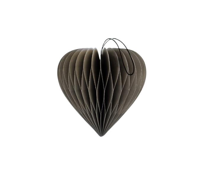 "Paper Christmas Decoration - Classic Grey Heart, $9.95, [Aura Home](https://www.aurahome.com.au/paper-christmas-decoration-classic-grey-heart|target=""_blank""|rel=""nofollow"")."