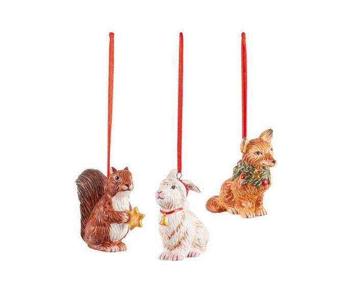 "Nostalgic Ornaments Forest Animals, $63.95/set of 3, [Villeroy & Boch](https://www.villeroy-boch.com.au/shop/nostalgic-ornaments-ornament-set-forest-animals-6-x-7-cm-3-pieces-1483316689.html|target=""_blank""|rel=""nofollow"")."