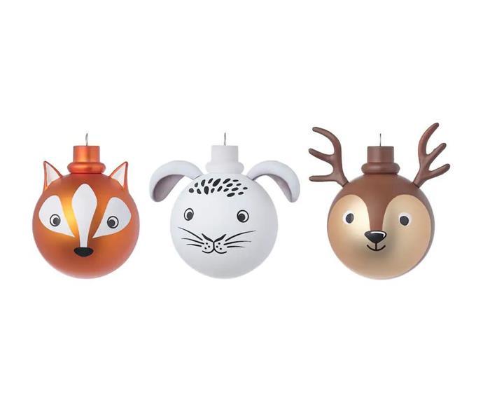"VINTER Animals Decoration Bauble, $17/3 pack, [IKEA](https://www.ikea.com/au/en/p/vinter-2021-decoration-bauble-set-of-3-animals-40498658/|target=""_blank""|rel=""nofollow"")."