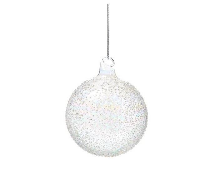 "Clear Glass Rainbow Ball Bauble, $8.99, [Adairs](https://www.adairs.com.au/homewares/christmas/adairs/rainbow-glass-bauble-ball-dia7xh14cm-clear/|target=""_blank""|rel=""nofollow"")."