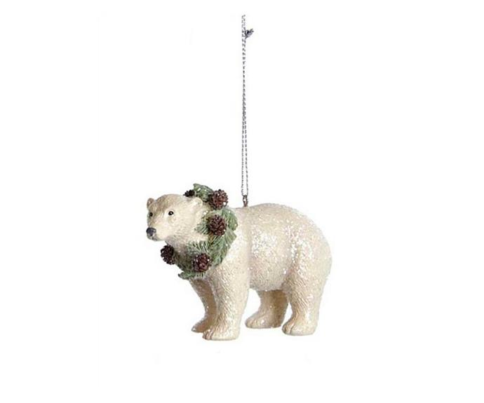 "Kurt Adler Polar Bear Ornament, $12.95, [David Jones](https://www.davidjones.com/home-and-food/christmas/christmas-ornaments-and-baubles/24137297/POLAR-BEAR%7CREINDEER-RESIN-ORNAMENTS.html|target=""_blank""|rel=""nofollow"")."