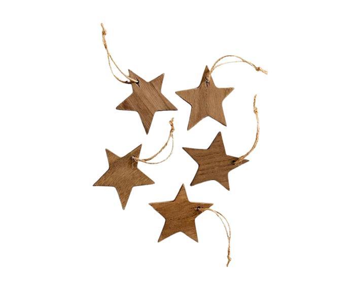"5 Pack Wooden Star Christmas Decoration - Natural, $10, [Target](https://www.target.com.au/p/5-pack-wooden-star-christmas-decoration/65344880?utm_term=65344880&utm_content=5-pack-wooden-star-christmas-decoration&utm_source=google&utm_medium=merchant-site&utm_campaign=merchant-site&gclid=CjwKCAjw2bmLBhBREiwAZ6ugo5BbPomxwcV2c_h_tTaAmL4bDnFArekc-QCiMSdQedWGcReOrrLfhRoCECQQAvD_BwE&gclsrc=aw.ds|target=""_blank""|rel=""nofollow"")."