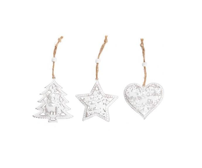 """**Christmas Cut Out Decorations in White, $15.00/set of 3, [Tara Dennis Store](https://www.taradennisstore.com/collections/white-berry-christmas-1/products/christmas-cut-out-decorations-white target=""""_blank"""" rel=""""nofollow"""")**   If you're dreaming of an all white Christmas, these are lovely to add different shapes and some texture to your display. They would also make a sweet touch for place settings at your Christmas table."""