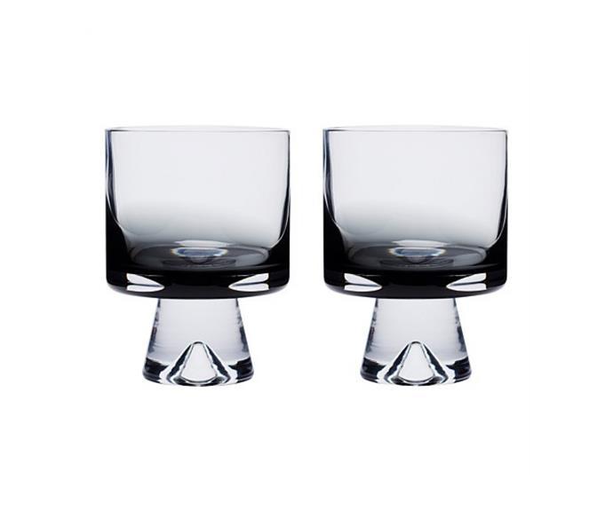 "Tom Dixon 'Tank' low ball glass, $125 for two, [David Jones](https://www.davidjones.com/brand/tom-dixon/22330296/TANK-LOW-BALL-GLASSES-SET-OF-2-BLACK.html|target=""_blank""|rel=""nofollow"")."