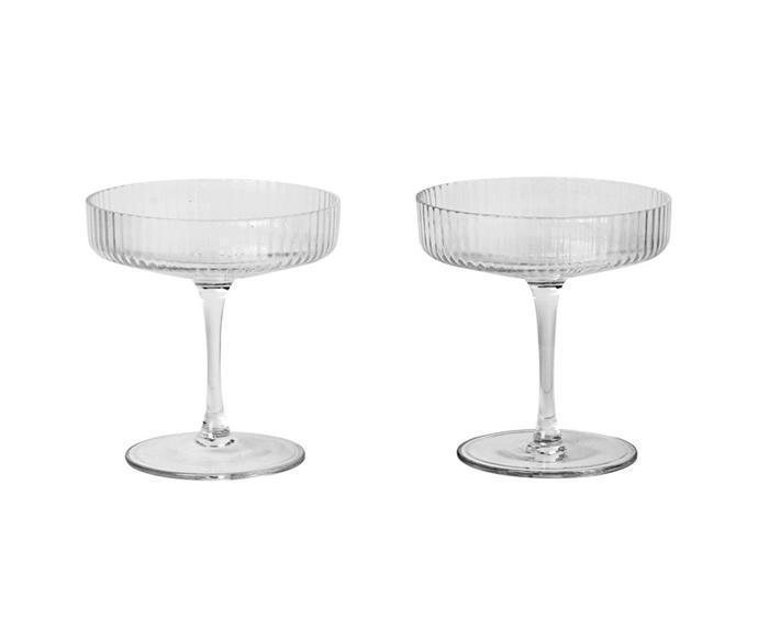 "Ferm Living Ripple champagne saucer, $79, [Designstuff](https://www.designstuff.com.au/product/ferm-living-ripple-glass-champagne-saucers-set-of-2/|target=""_blank""|rel=""nofollow"")."