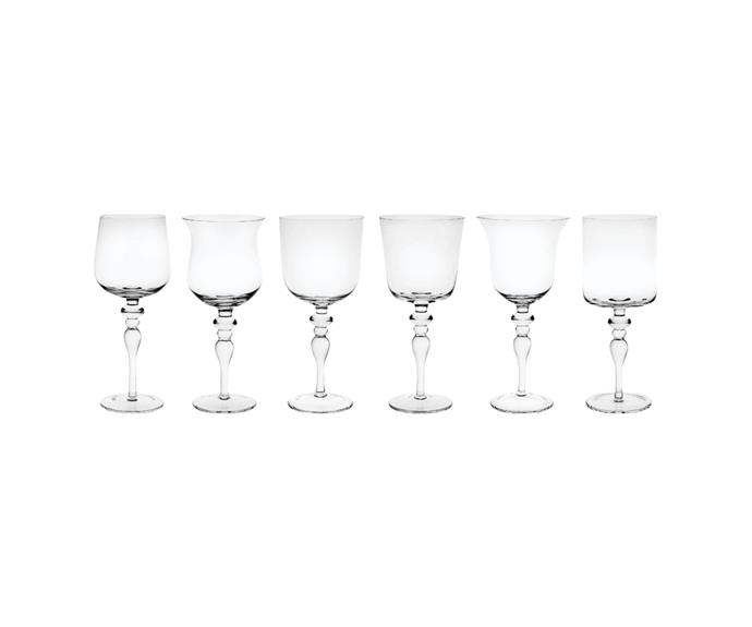"""Bitossi home wine glasses, $200 for six, [Bed Threads](https://bedthreads.com.au/products/bitossi-home-wine-glasses-in-clear-set-of-6