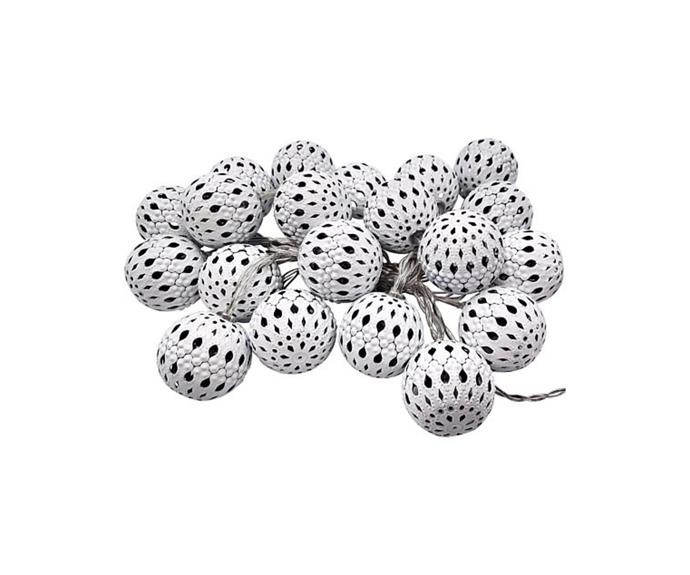 """**20 LED Metal Cutout Battery Operated Lights in White, $19.95, [David Jones](https://www.davidjones.com/home-and-food/christmas/christmas-home-decor/22677934/20-LED-White-Metal-Cutout-Battery-Operated-Lights.html target=""""_blank"""" rel=""""nofollow"""")**  With their delicate cutouts and soft glow, these lights would work beautifully on a Christmas tree, or as a garland along a mantlepiece or doorway. Hang a vertical cluster together for a striking display in an entrance hall or from a vaulted ceiling, or simply gather into a glass vessel. Also available in silver."""