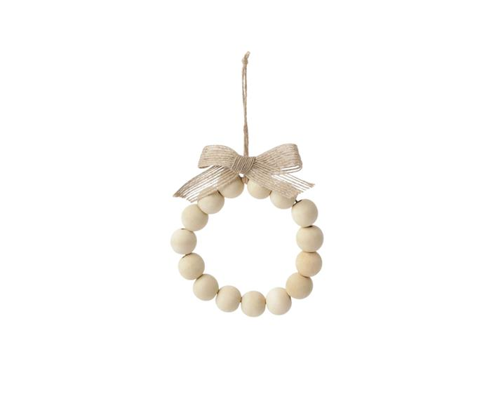 """**Australian House & Garden Eucalyptus Wooden Bead Wreath Ornament in White/Natural, $7.99, [Myer](https://www.myer.com.au/p/australian-house-garden-eucalyptus-woden-bead-wreath-ornament-white-natural-10cm target=""""_blank"""" rel=""""nofollow"""")**  Off white and made from Eucalyptus wood, at just 10cm in diameter this sweet little wreath is perfect to hang from your tree or would make a lovely place setting at your Christmas table."""