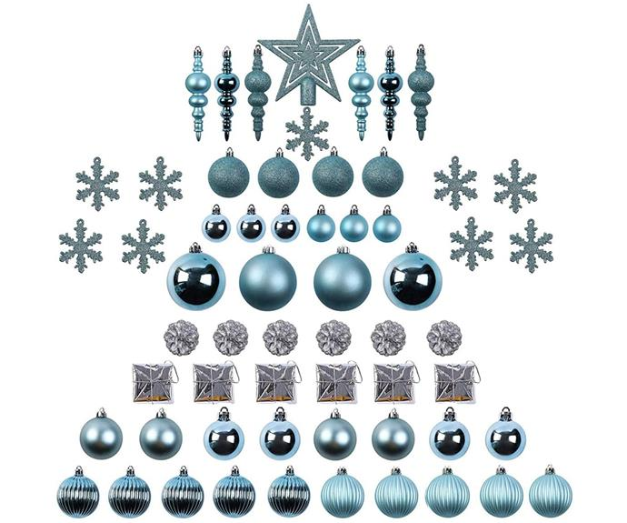 """**60 piece Christmas Tree Ball Ornaments Set in Blue, $55.59, [Amazon](https://www.amazon.com.au/Sunnyglade-Christmas-Shatterproof-Bling-Bling-Decoration/dp/B07H86HXXJ/ref=asc_df_B07H86HXXJ/?tag=googleshopdsk-22&linkCode=df0&hvadid=510724937513&hvpos=&hvnetw=g&hvrand=12470283910026204833&hvpone=&hvptwo=&hvqmt=&hvdev=c&hvdvcmdl=&hvlocint=&hvlocphy=9071836&hvtargid=pla-574860317668&psc=1 target=""""_blank"""" rel=""""nofollow"""")**  Shatterproof and shamelessly bling-a-rama, this huge set of decorations will see no vignette without a touch of Hamptons Christmas in your home. Buy a couple of sets for a cohesive look throughout your entire home, indoors and out.  *Amazon offers a 100% Grinch-proof satisfaction guarantee or your money back*"""