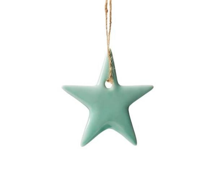 """**Ceramic Star Decoration in Mint, $6.99, [Adairs](https://www.adairs.com.au/homewares/christmas/adairs/mint-ceramic-star-decoration/ target=""""_blank"""" rel=""""nofollow"""")**  Also available in pink and (off) white, this glossy, yet delicate ceramic star decoration is the colour of seaglass. Simply add to existing decor for a merry display, or dot throughout your Christmas tree foliage."""