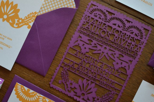 """**2\. Papel picado Laser cut wedding invitations by avie designs**  Papel picado (""""perforated paper"""") is a decorative mexican craft made out of paper cut into elaborate designs. These exquisite laser cut [wedding](http://www.homelife.com.au/how+to/diy/wedding+ideas+,1349) invitations guarantee a completely unique wedding invitation.  Laser cut wedding invitations, $100 towards deposit, [avie designs](http://aviedesigns.bigcartel.com/product/papel-picado-laser-cut-wedding-invitations)"""