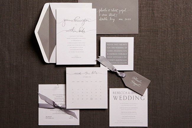 **9\. Relaxed handwriting paper wedding inviation set by Papier d'Amour**  A stylized handwritten cursive text features the bride and groom's names on these elegant [wedding](http://www.homelife.com.au/how+to/diy/wedding+ideas+,1349) invitations. Rsvp, accessory cards, place cards and order of service covers are also available with other colours are available upon request.  Relaxed handwriting paper wedding inviation set, 220 x 155mm, POA, [Papier d'Amour](http://www.papierdamour.com.au/weddings-1/couture-weddings/relaxed-handwriting.html)