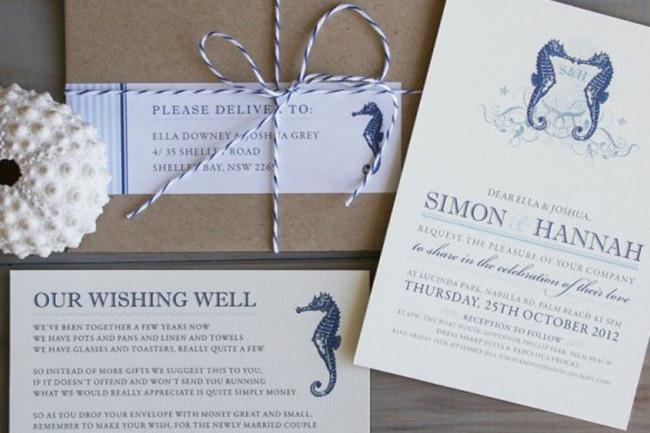 **4\. Seahorse coastal wedding invitations by Peppermint Press**  These letterpress Seahorse invitations are a chic choice for [beach](http://www.homelife.com.au/homes/beach+houses) weddings. Colours and fonts can be customised so you can choose delicate shades of pale blue or any other hue that takes your fancy!   Seahorse coastal wedding invitations by [Peppermint Press](http://www.peppermintpress.com.au/product/seahorse/)