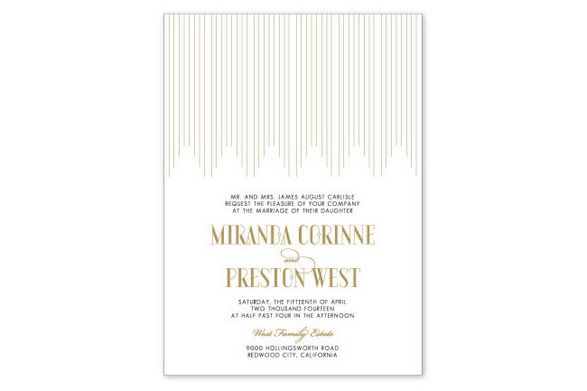 **12\. Great Gatsby Empire wedding invitation by Aerialist Press**  Oh Gatsby! Embrace your inner 1920s style with these Empire letterpress invitations. The foil gold and black design is classic and elegant with a [modern](http://www.homelife.com.au/homes/modern+homes) edge.  Empire wedding invitation, 5(w)x7(h)inch, POA, [Aerialist Press](http://www.theaerialistpress.com/content/Empire_Letterpress_Wedding_Invitation)  **Like this? Check out:**  *[Seasonal wedding flowers](http://www.homelife.com.au/how+to/seasonal+ideas/wedding+flowers+by+month,1356)   *[Country wedding decorating ideas](http://www.homelife.com.au/decorating/galleries/10+country+wedding+decorating+ideas+,24549)   *[Garden wedding checklist](http://www.homelife.com.au/how+to/garden+wedding+checklist,22160)
