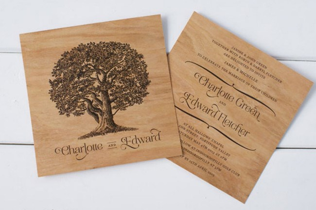 **5\. Wooden wedding invitations by Poppiseed Designs**  Get back to nature with these striking [wooden](http://www.homelife.com.au/decorating/living+dining/how+to+disguise+scratches+on+wood,4082) wedding invitations! Each square invitation is printed on both sides on a thinly sliced piece of mahogony. Wood grain and colours vary making each invitation unique.  Wooden wedding invitations, 148 x 148mm, from $5.95 each, [Poppiseed Designs](http://www.poppiseeddesigns.com.au/the-wedding-tree-square-wooden-invitation-p-1669.html)