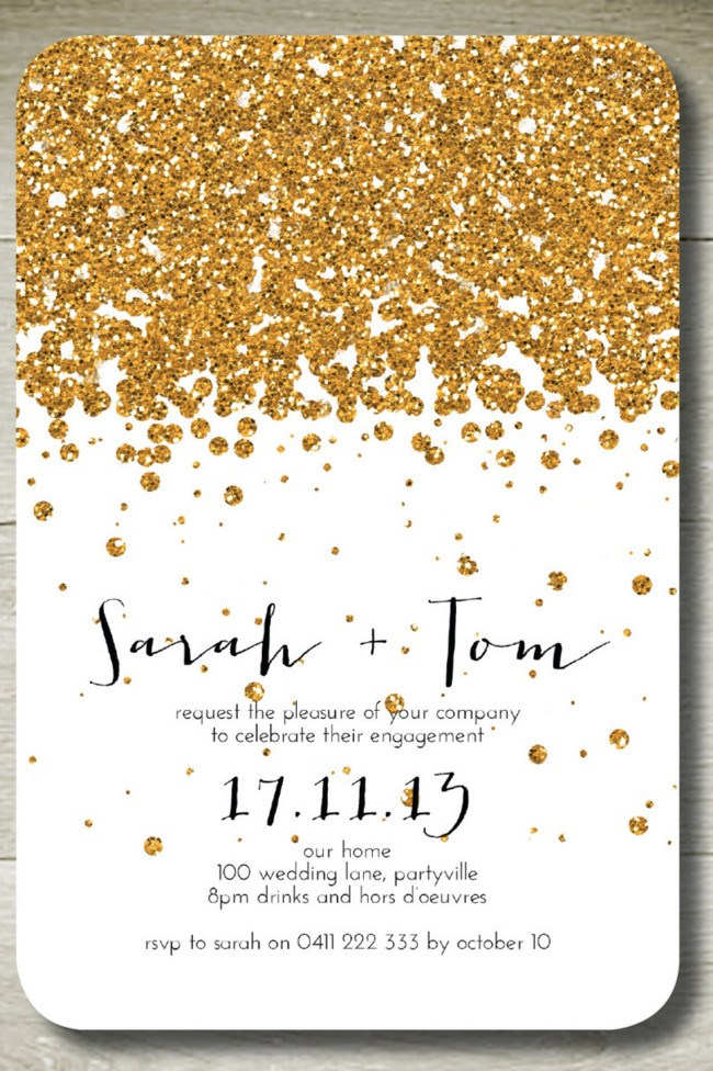 **10\. Glitter wedding invitation by The Parchment Place**  If ever there was an excuse for some extra sparkle surely it's on your wedding day?! These glitter invitations are fully customisable for your choice of wording and colour.  Glitter wedding invitation by The Parchment Place, POA, [Etsy](http://www.etsy.com/au/listing/121270758/all-that-glitters-custom-personalised)