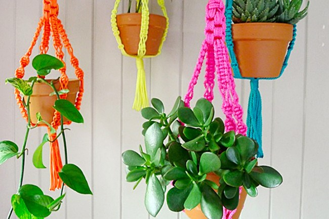 **4\. Add colour**  Brighten up a small space in an instant with a splash of colour. These modern neon macrame planters are handknotted and come in a selection of brilliant colours.    Macrame bright planters, $29.95, [The Small Garden](http://thesmallgarden.com.au/shop/pots/macrame-bright-planters/)