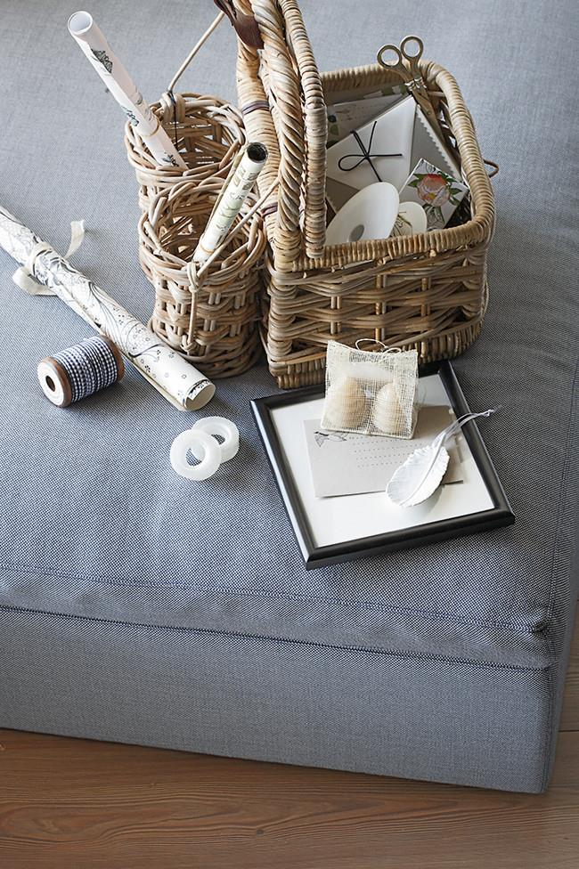 6. Craft room. A picnic basket designed to carry bottles is perfect for storing sewing, knitting and craft supplies. Use the smaller compartments to keep  sticky tape, scissors, gift tags, ribbons and pens organised – you can then easily transport your supplies from room to room. | Photo: Scott Hawkins