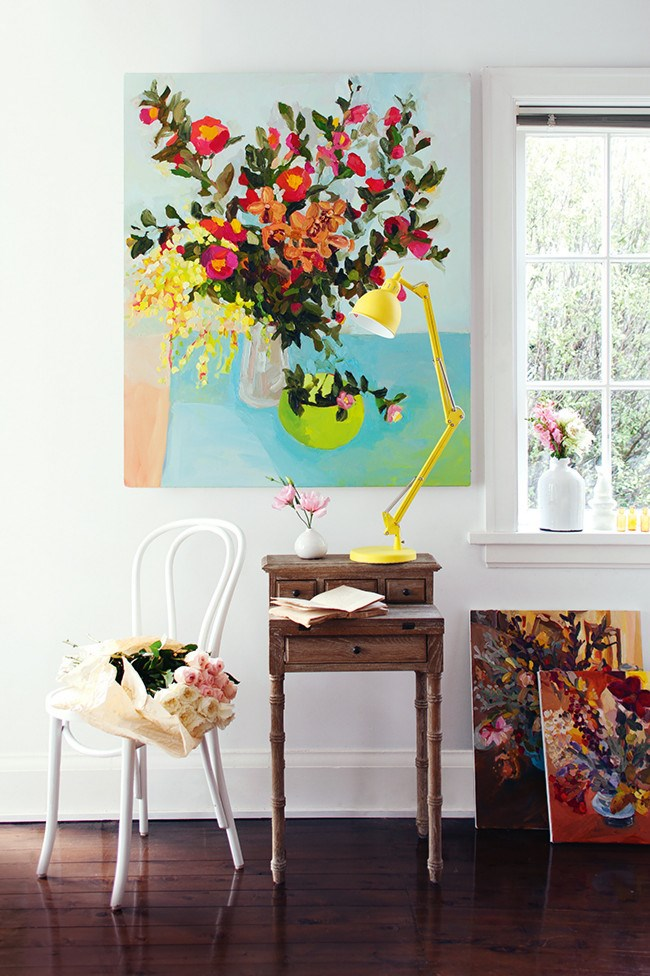 """Still life compositions are a welcome alternative to floral decorating. Think Van Gogh's [""""Sunflowers""""](https://www.vangoghmuseum.nl/en/collection/s0031V1962) or Margaret Olley's [""""Ranunculus and pears""""](http://www.artgallery.nsw.gov.au/collection/works/29.2005/). No watering needed. 