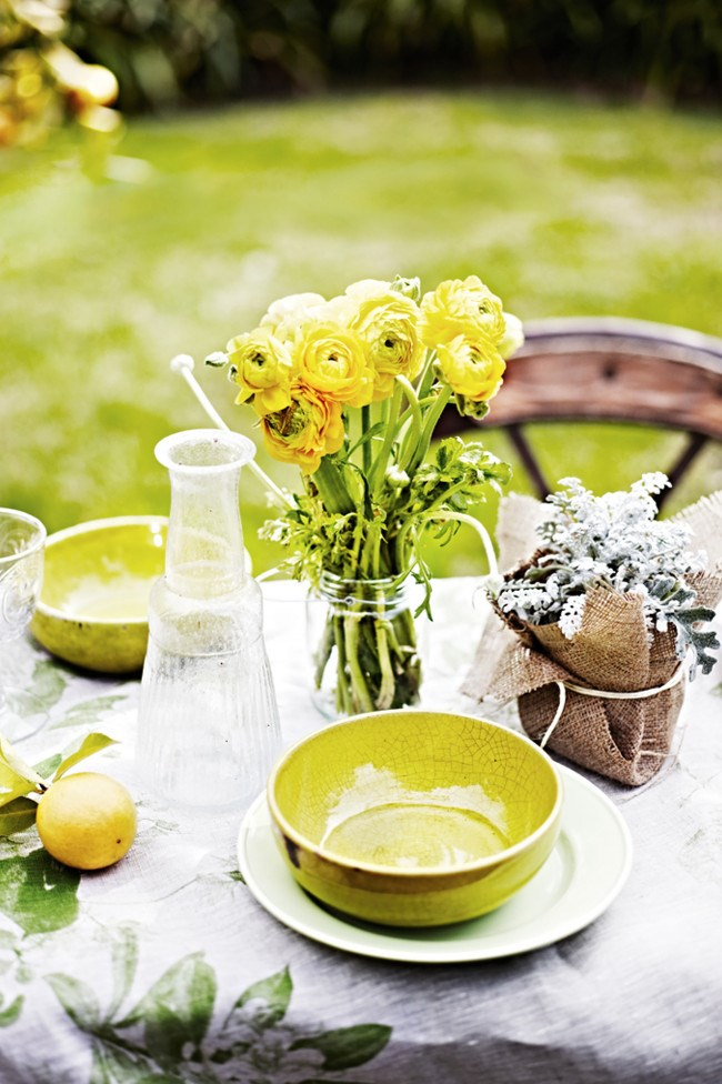 **2\. Save on style**  It needn't cost you a fortune to create a stylish setting, go for flowers, leaves or even fruits like lemons picked from the garden. If you go to a florist you can save money by buying what's in season locally or simply add a floral table cloth that can be used again.