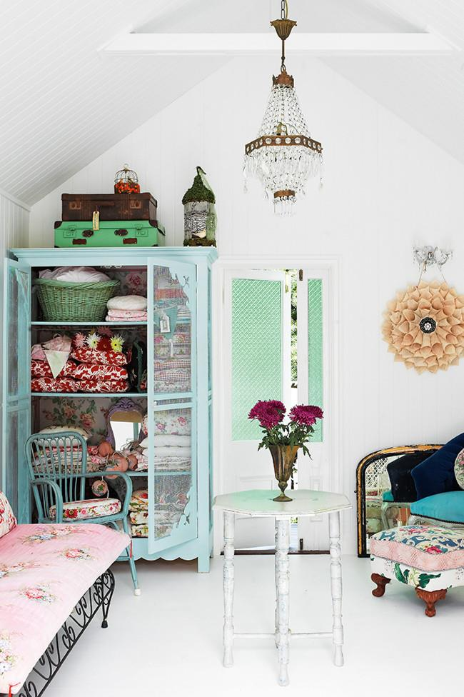 """An all-white colour palette allows multiple floral patterns to exist side-by-side in harmony. """"Shabby, faded, used, vintage, quirky, whimsical — all those words apply,"""" says the owner of her style."""